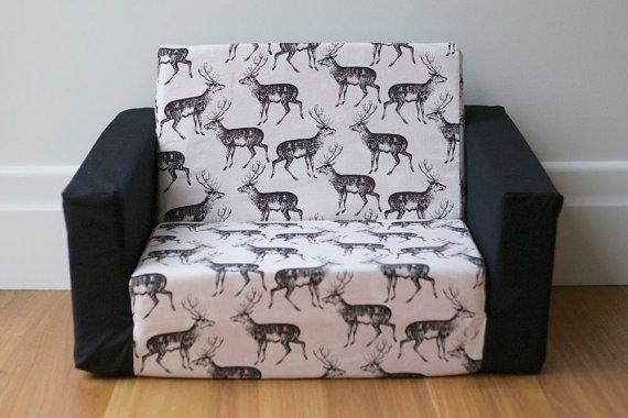 Kids Flip Out Sofa Cover Black On White Deer Print With Black Within Flip Out Sofa For Kids (View 2 of 15)