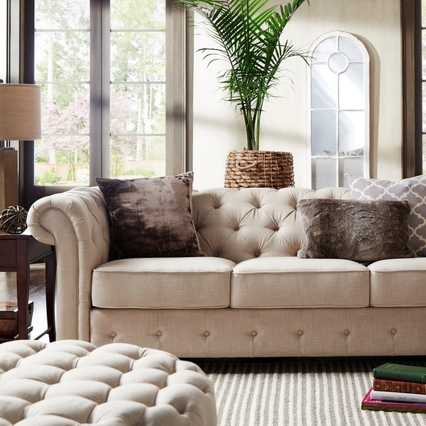 Knightsbridge Beige Fabric Button Tufted Chesterfield Sofa And In Tufted Linen Sofas (#7 of 15)
