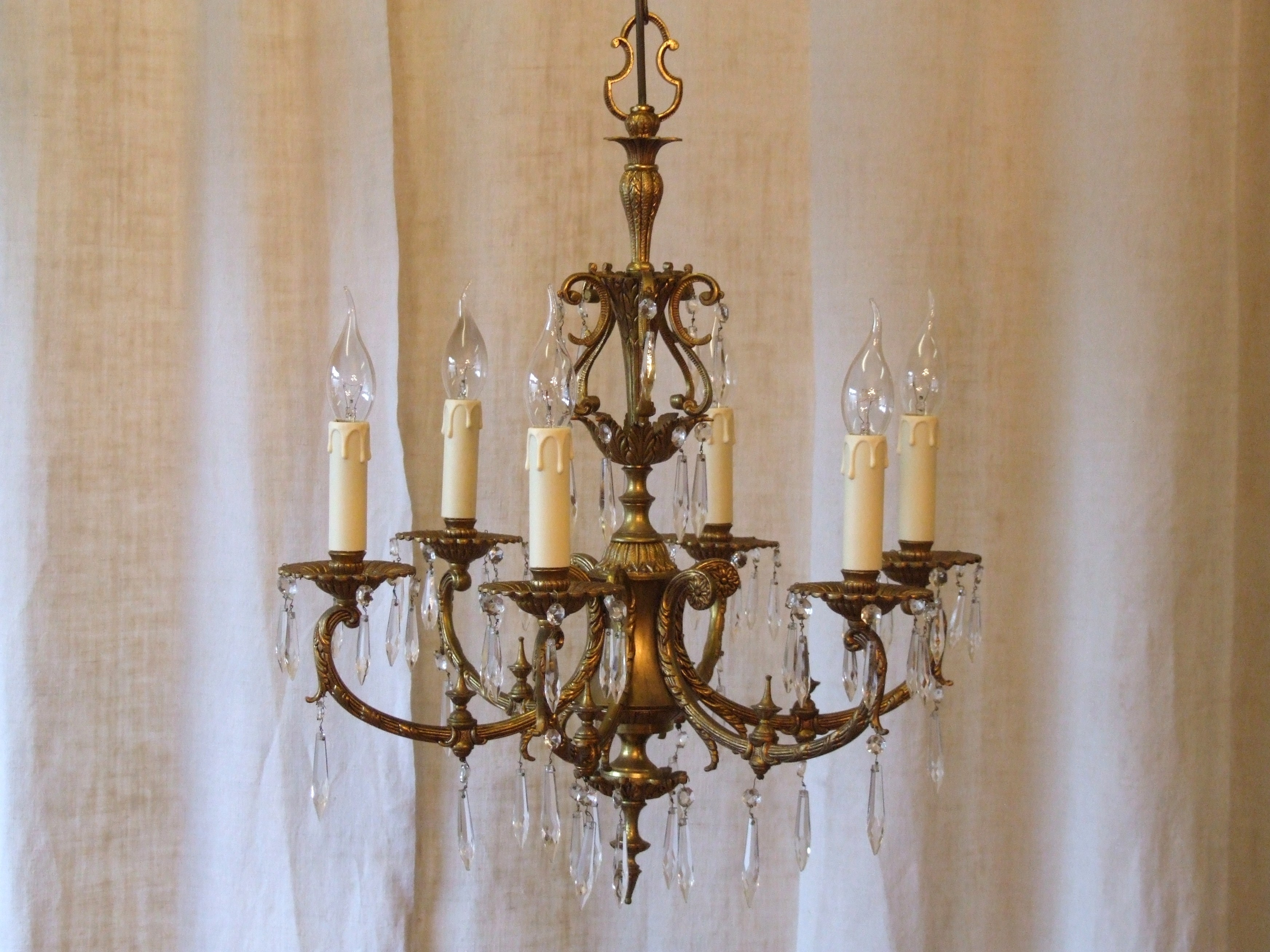 L158s Exquisite Vintage Italian 6 Arm Gilded Brass And Crystal For Vintage Italian Chandeliers (#5 of 12)