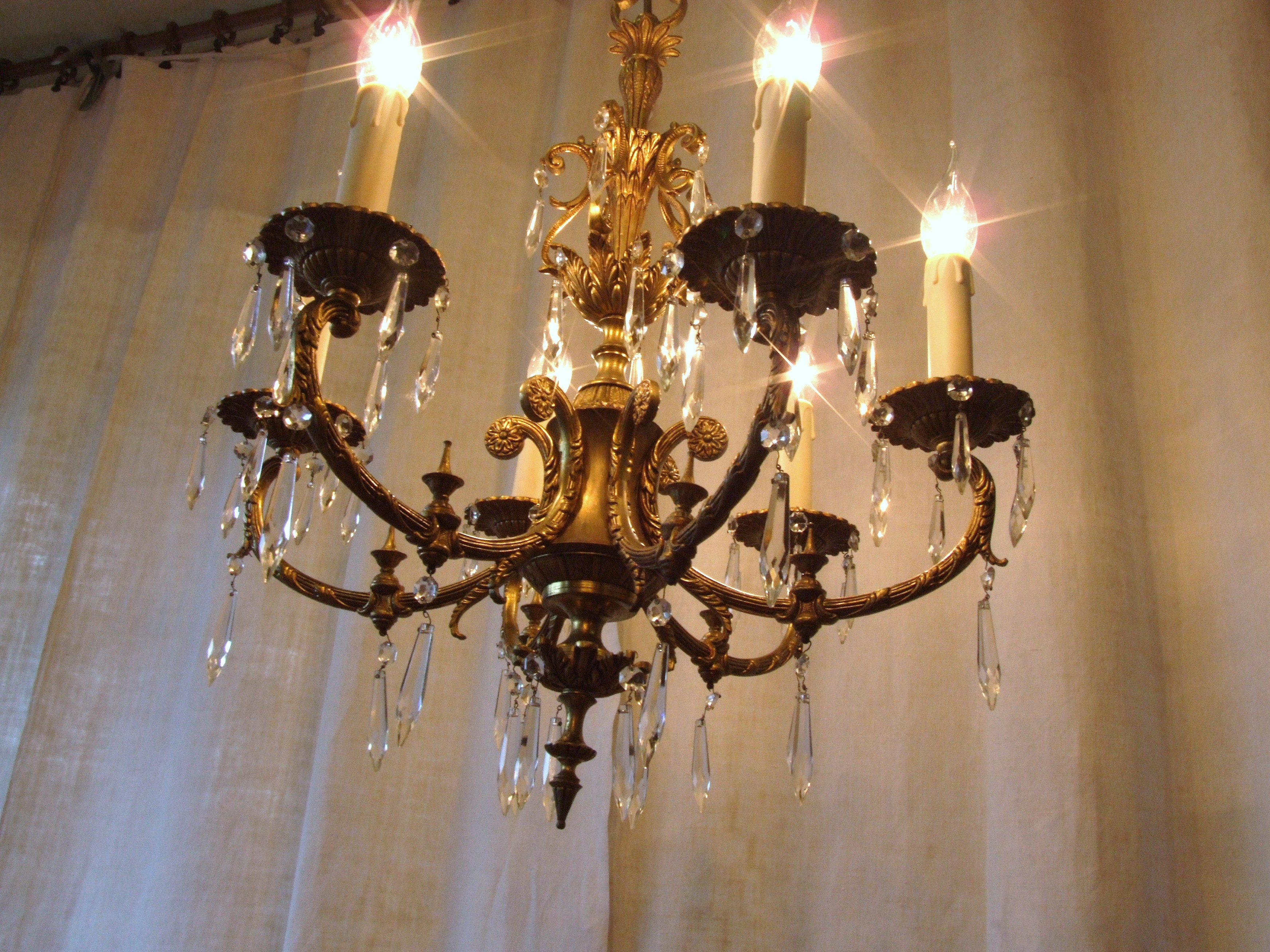 L158s Exquisite Vintage Italian 6 Arm Gilded Brass And Crystal Throughout Vintage Italian Chandeliers (#6 of 12)