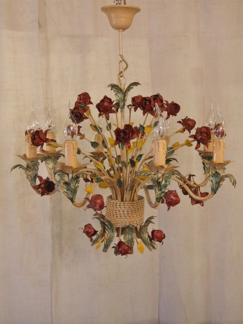 L205s Large 8 Arm Vintage Italian Painted Toleware Chandelier Regarding Vintage Italian Chandeliers (#7 of 12)