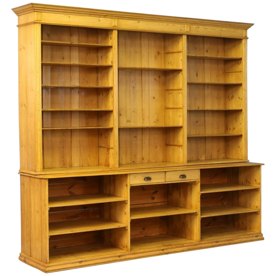 Large Antique Pine Bookcase Wall Unit Denmark Circa 1880 Pine Intended For Large Wooden Bookcases (View 5 of 15)