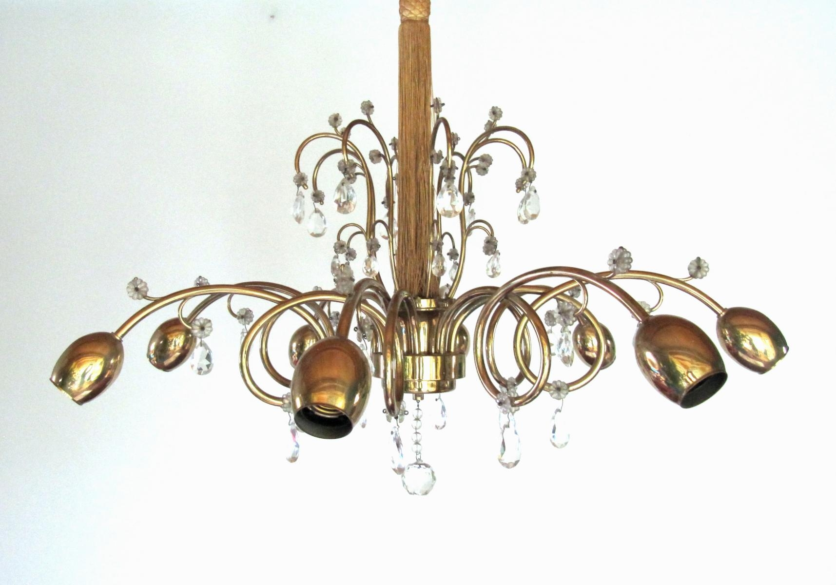 Large Austrian Art Deco Chandelier From Jl Lobmeyr For Sale At Pamono Throughout Large Art Deco Chandelier (#10 of 12)