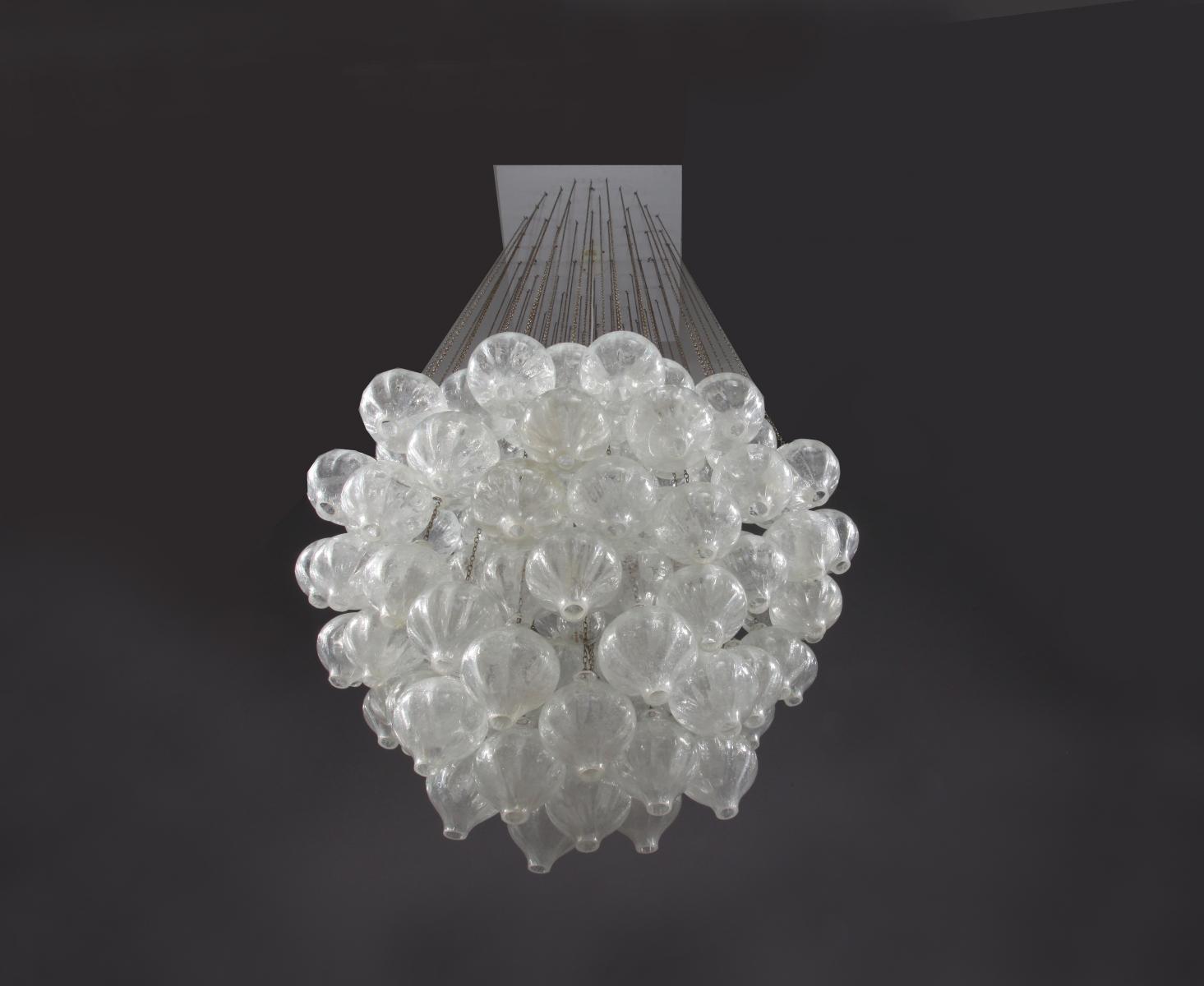 Large Austrian Tulipan Crystal Glass Chandelier From Kalmar 1960 In Large Glass Chandelier (#4 of 12)