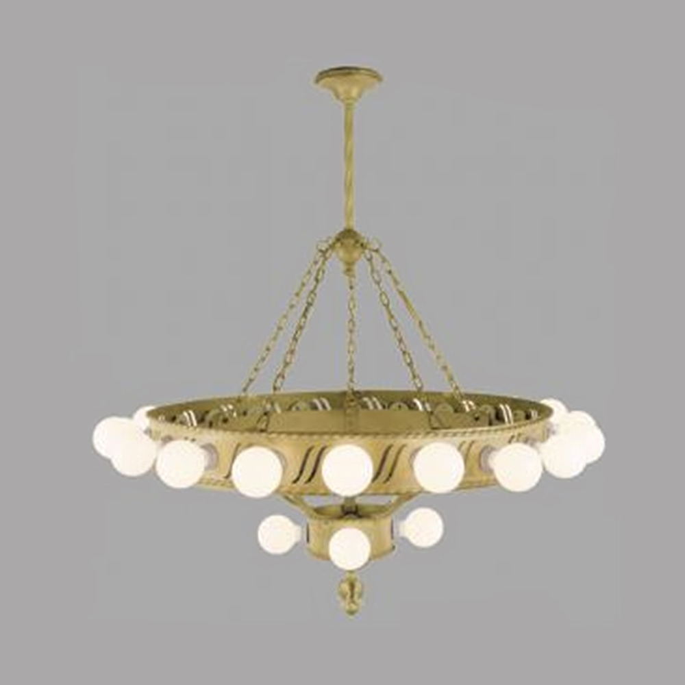 Large Bare Bulb 1920s Chandelier Big Antique Commercial Light With Edwardian Chandeliers (View 12 of 12)