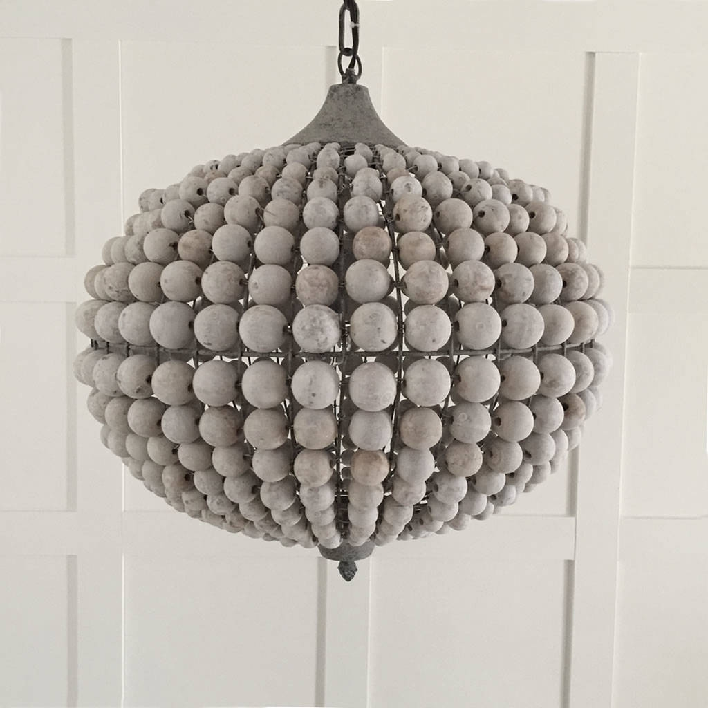 Large Beaded Wood Ball Globe Chandelier Cowshed Interiors Intended For Large Globe Chandelier (#9 of 12)