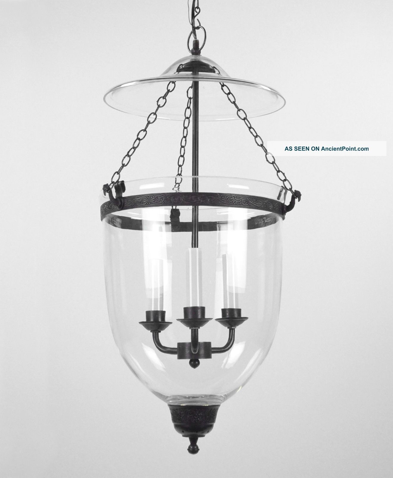 Large Bell Jar Light Chandelier Pendant Lantern Glass Colonial Old Pertaining To Antique Looking Chandeliers (#7 of 12)