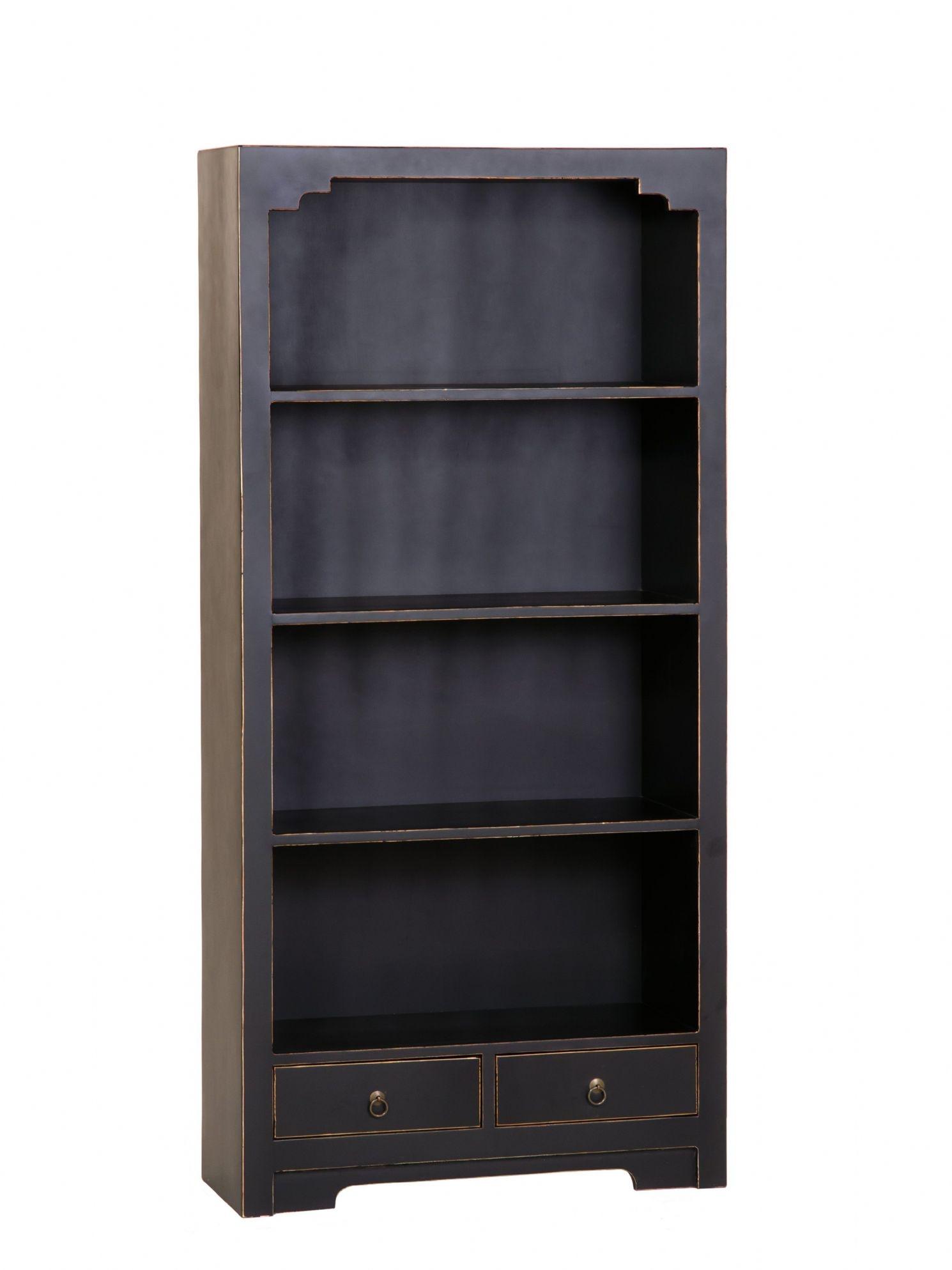 Large Black Bookcase Black Solid Wood Bookcases Black Painted Regarding Painted Wood Bookcase (#7 of 15)