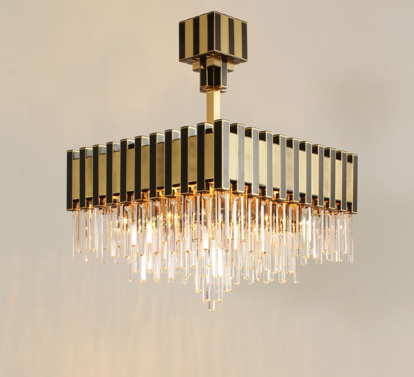 Large Black Gold Chandelier From Lumica 1970s For Sale At Pamono Intended For Large Black Chandelier (#10 of 12)