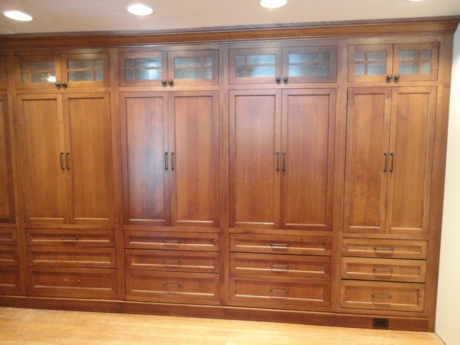 Large Brown Wooden Wardrobe With Double Doors And Drawers Placed In Large Wooden Wardrobes (#8 of 15)