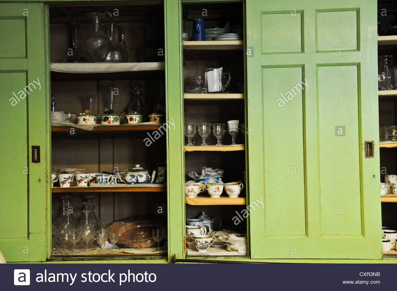 Inspiration about Large Green Old Fashioned Sliding Vintage English Victorian With Large Cupboard With Shelves (#12 of 15)