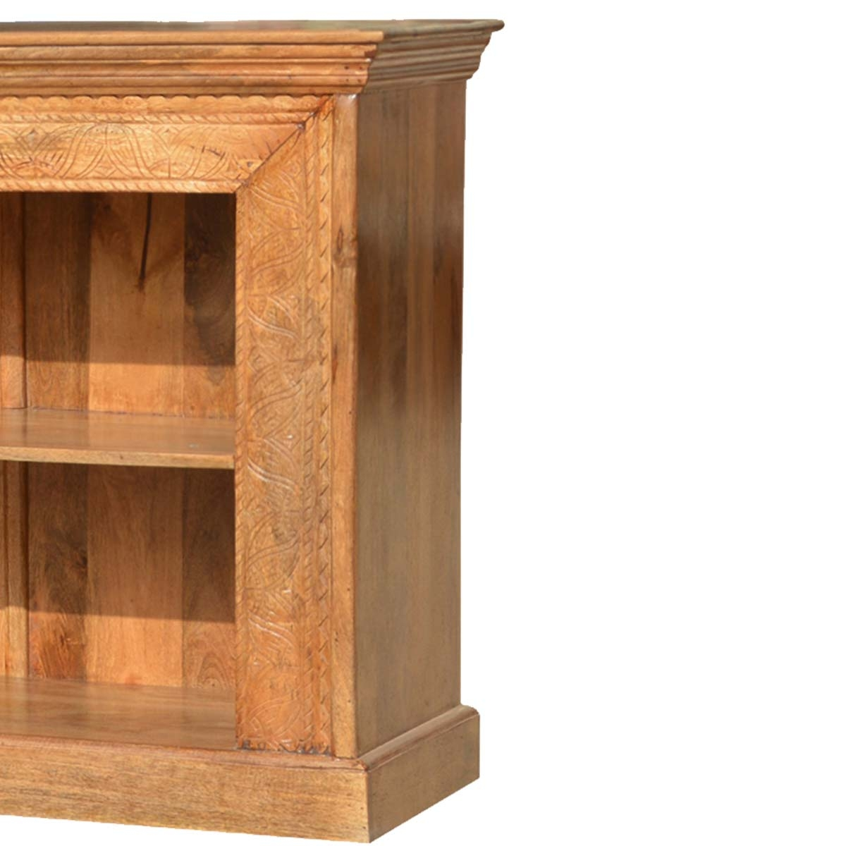 Large Hand Carved Solid Wood Bookcase 150 Long Tv Stand Media Pertaining To Large Solid Wood Bookcase (#10 of 15)
