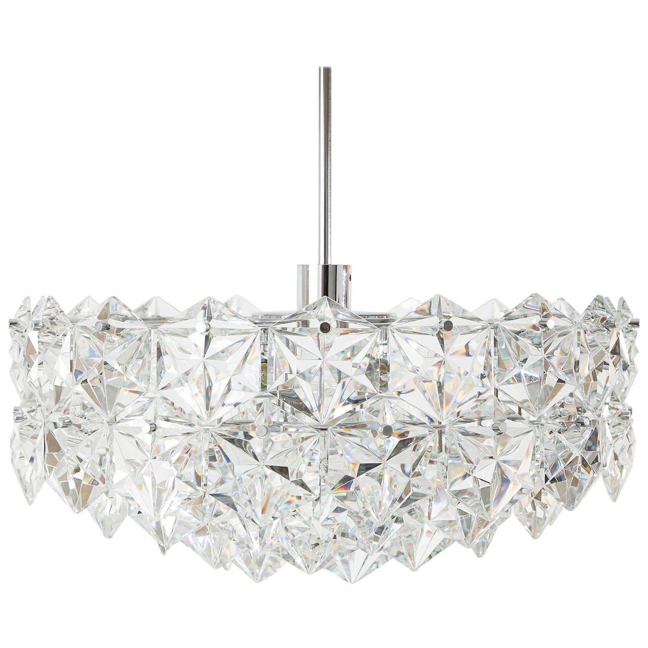 Large Kinkeldey Chandelier Or Flush Mount Light Fixture Crystal Pertaining To Large Glass Chandelier (#11 of 12)