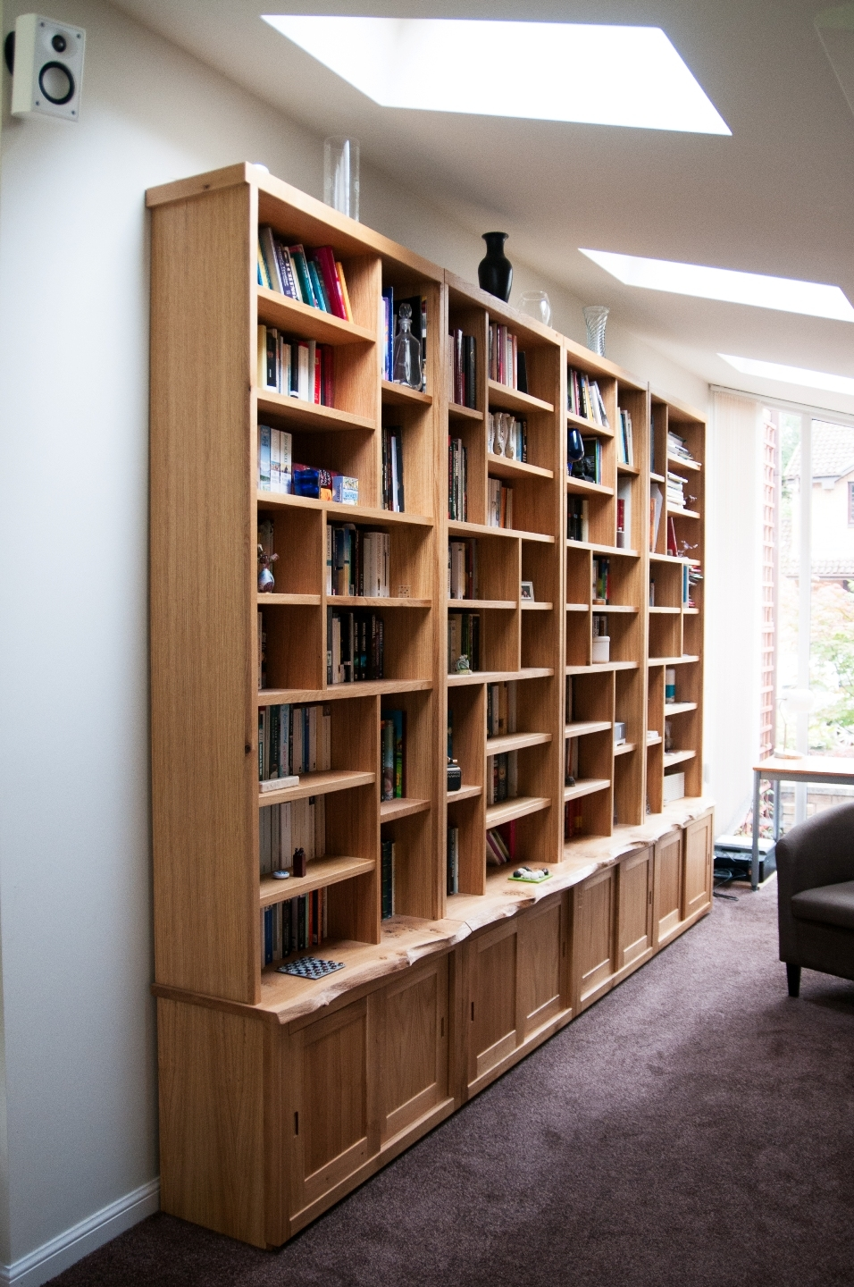 Large Oak Bookcase And Cupboards Organic Geometry Bespoke Inside Library Cupboards (#6 of 12)
