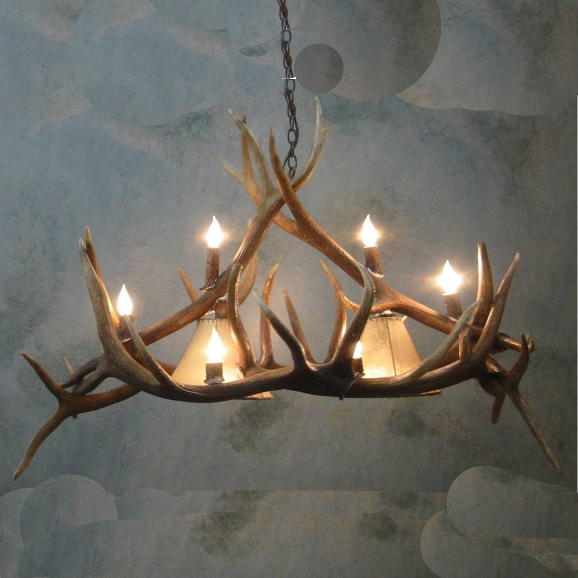 Large Pool Table Elk Antler Chandelier Pertaining To Large Antler Chandelier (#7 of 12)