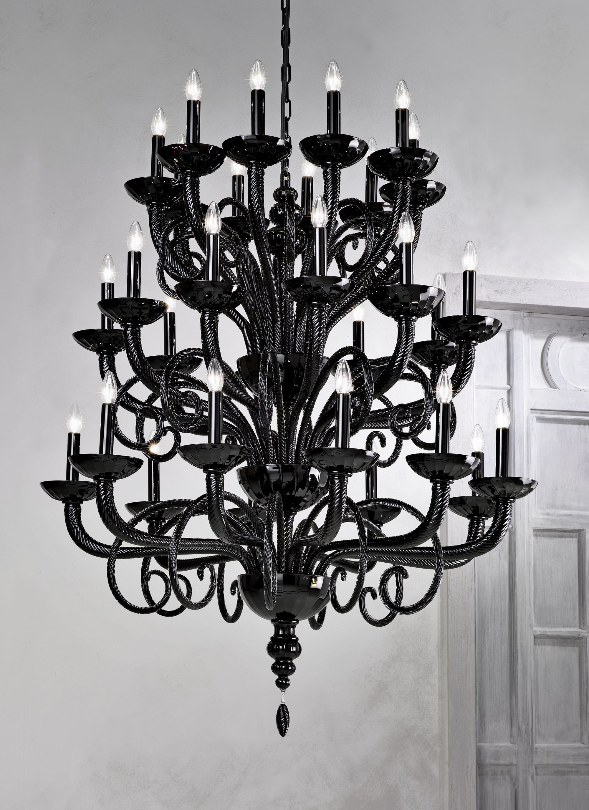 Large Traditional Black Grand Murano Chandelier L6011k30 Murano Throughout Large Black Chandelier (#11 of 12)