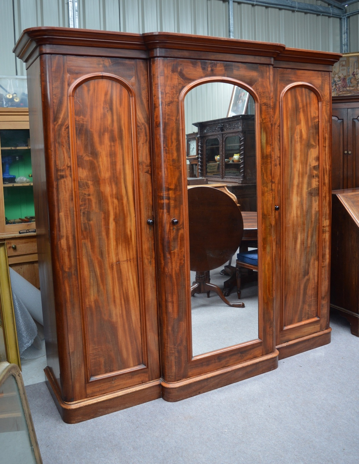 Large Victorian Mahogany Breakfront Wardrobe Compactum Triple In Breakfront Wardrobe (View 4 of 15)