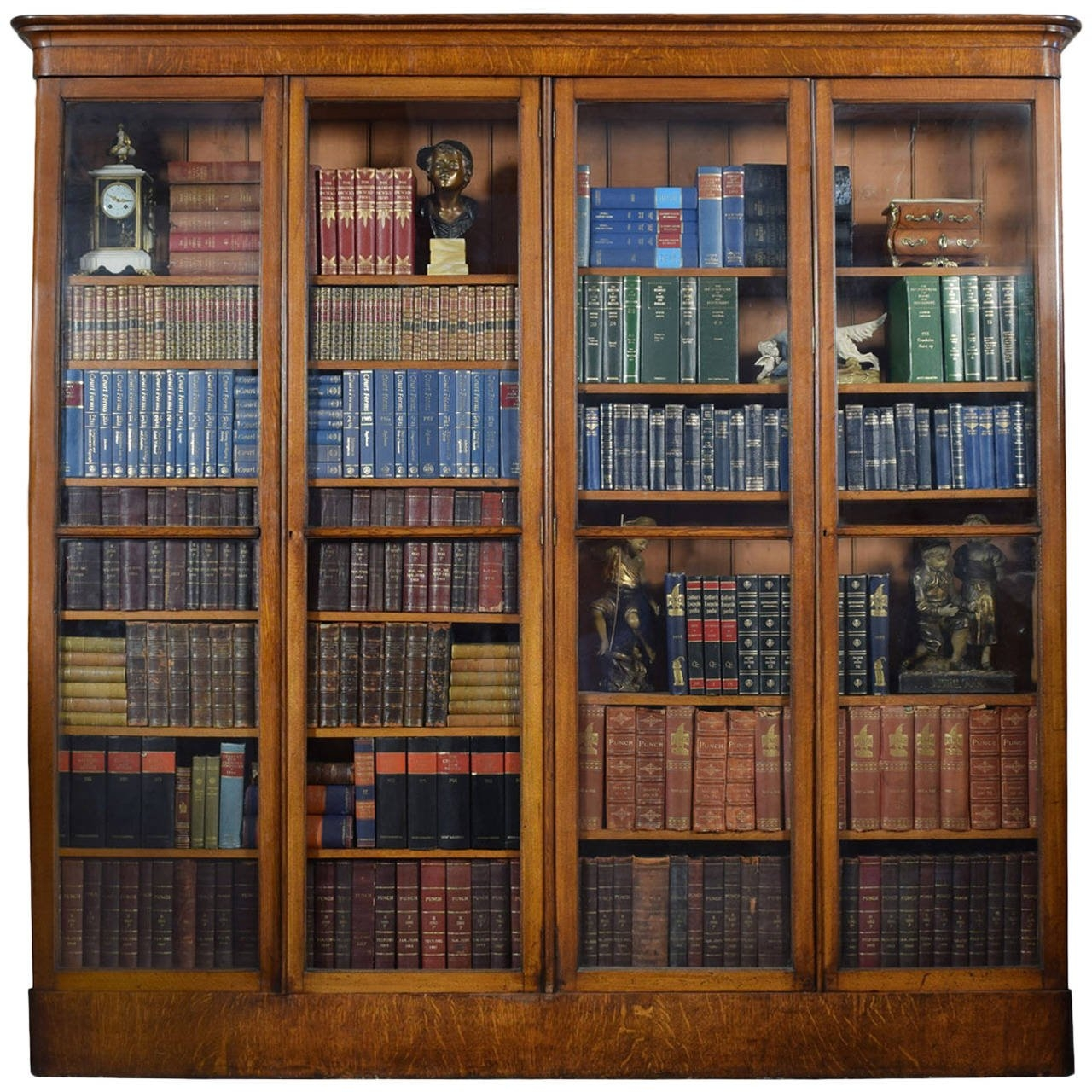 Large Victorian Oak Four Door Glazed Library Bookcase At 1stdibs Within Oak Library Bookcase (#8 of 15)