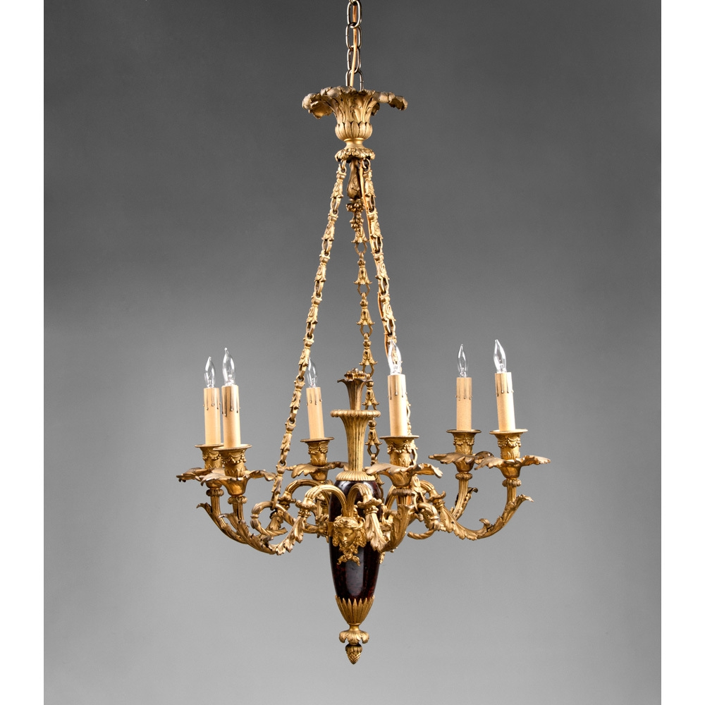 Late 19th C Empire Style Marble And Bronze French Chandelier From Intended For French Chandelier (#12 of 12)