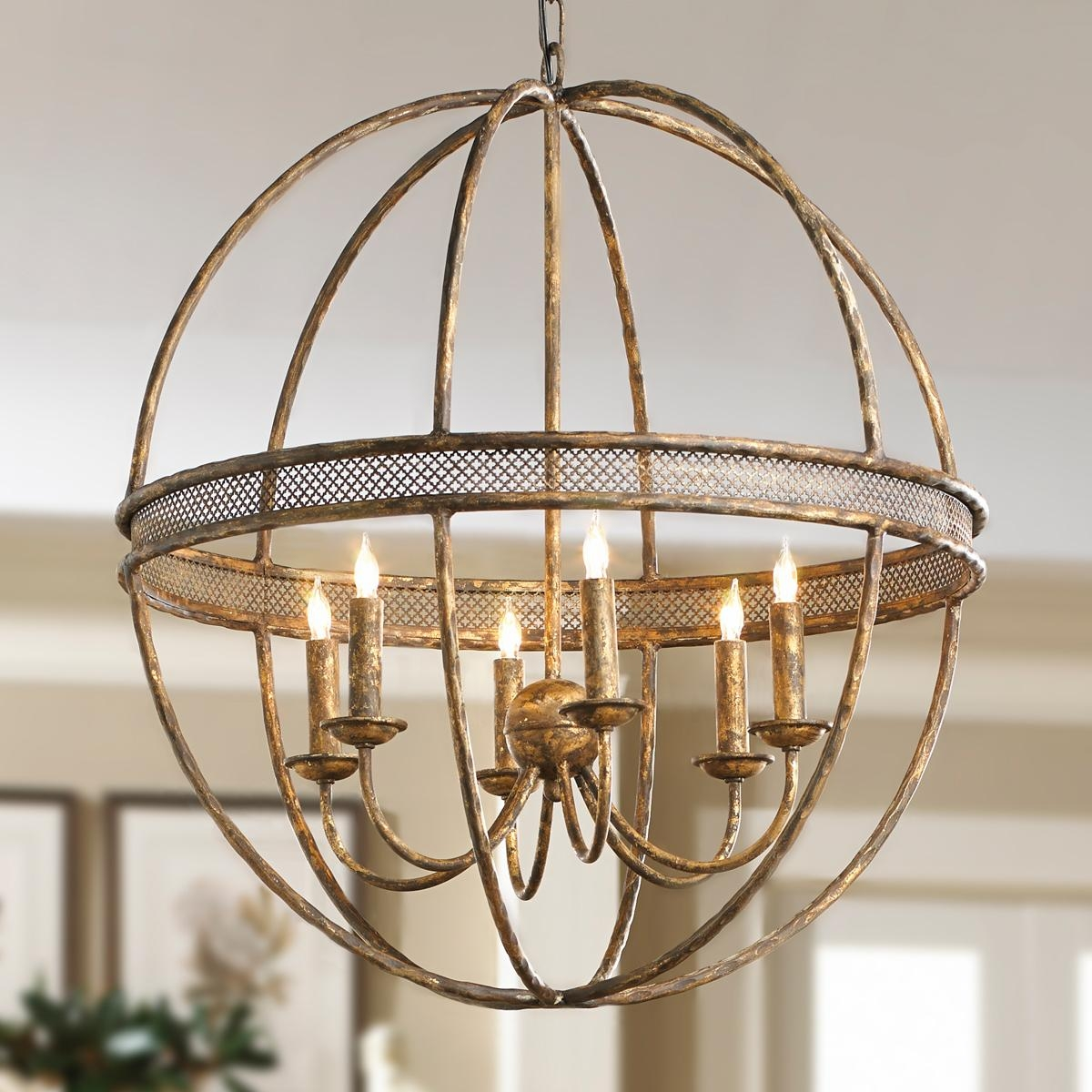 Lattice Banded Sphere Chandelier Aged Golden Lattice Adds The With Regard To Metal Sphere Chandelier (#7 of 12)
