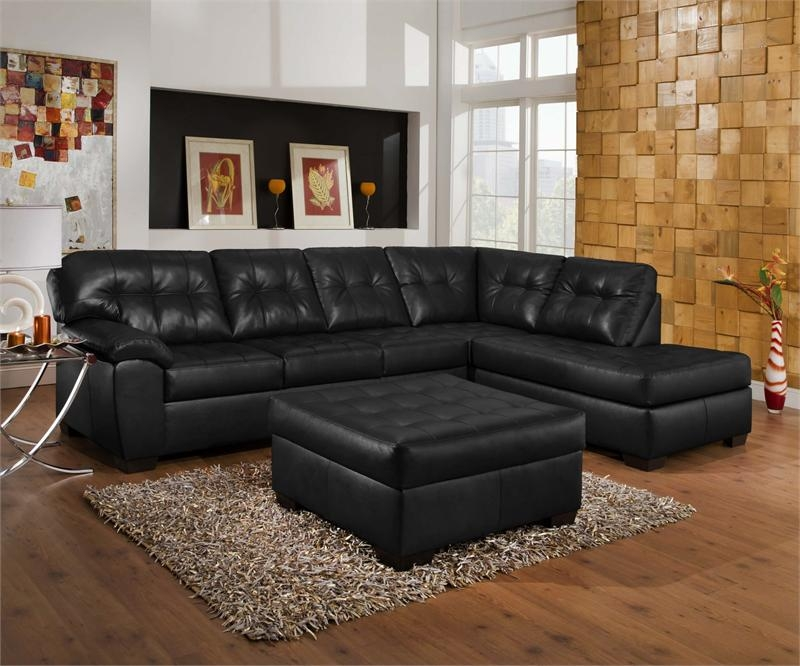 Leather Sectional Sofa Modern Living Room With Grey Colored For Black Leather Sectional Sleeper Sofas (#10 of 15)