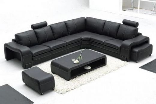 Leather Sofas Interior Design Inside Large Black Leather Corner Sofas (#9 of 15)