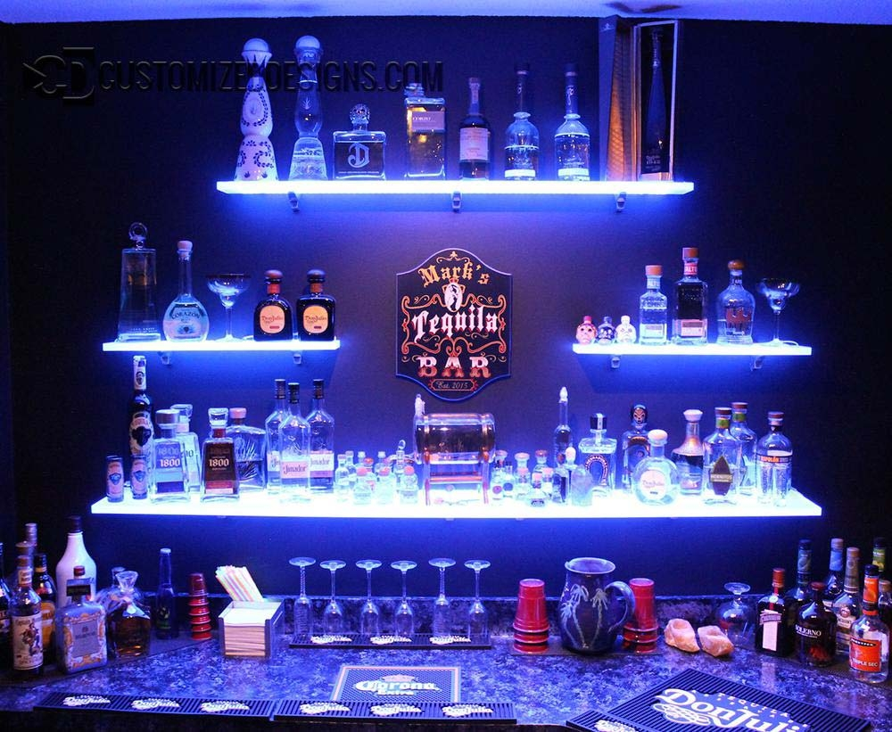 Led Lighted Shelves Back Bar Shelving For Home Bars Restaurants For Floating Glass Shelves For Bar (#13 of 15)