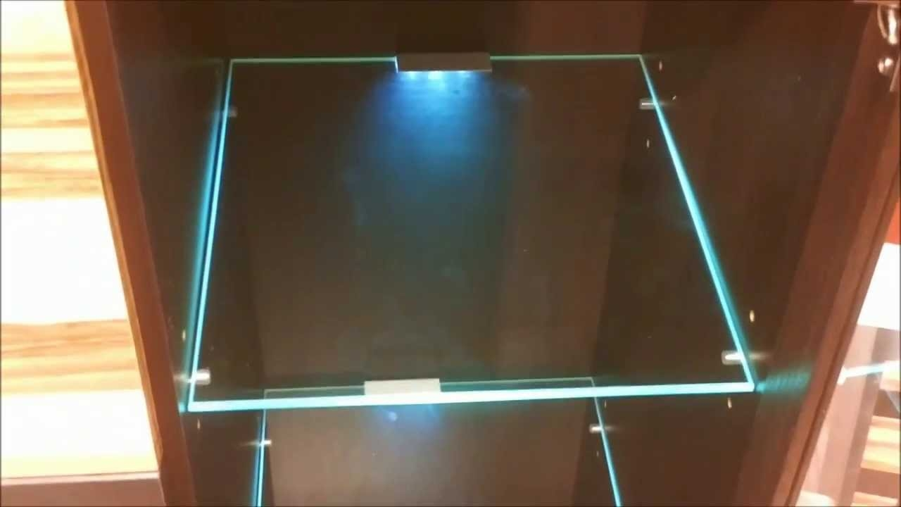 Led Lights Edge Lit Glass Cabinet Shelf Backlighting How To For Glass Shelves With Lights (#5 of 12)