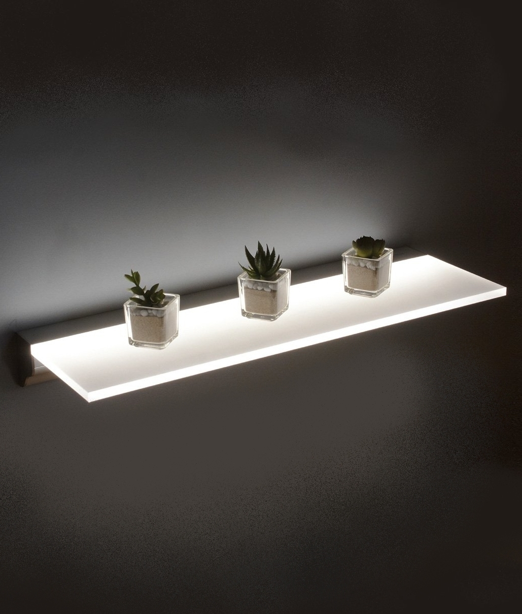 Led Opal Illuminated Shelf Two Sizes Regarding Illuminated Glass Shelves (#8 of 12)