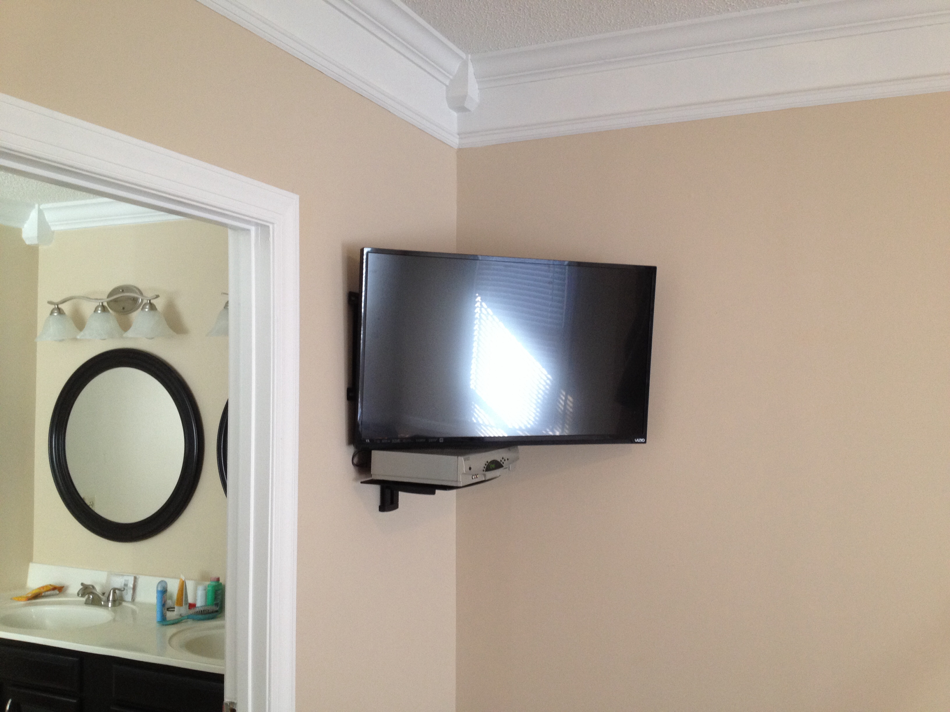 Led Tv Wall Mount Installation With Floating Glass Shelf For Cable Within Corner Shelf For Dvd Player On Wall (#11 of 15)