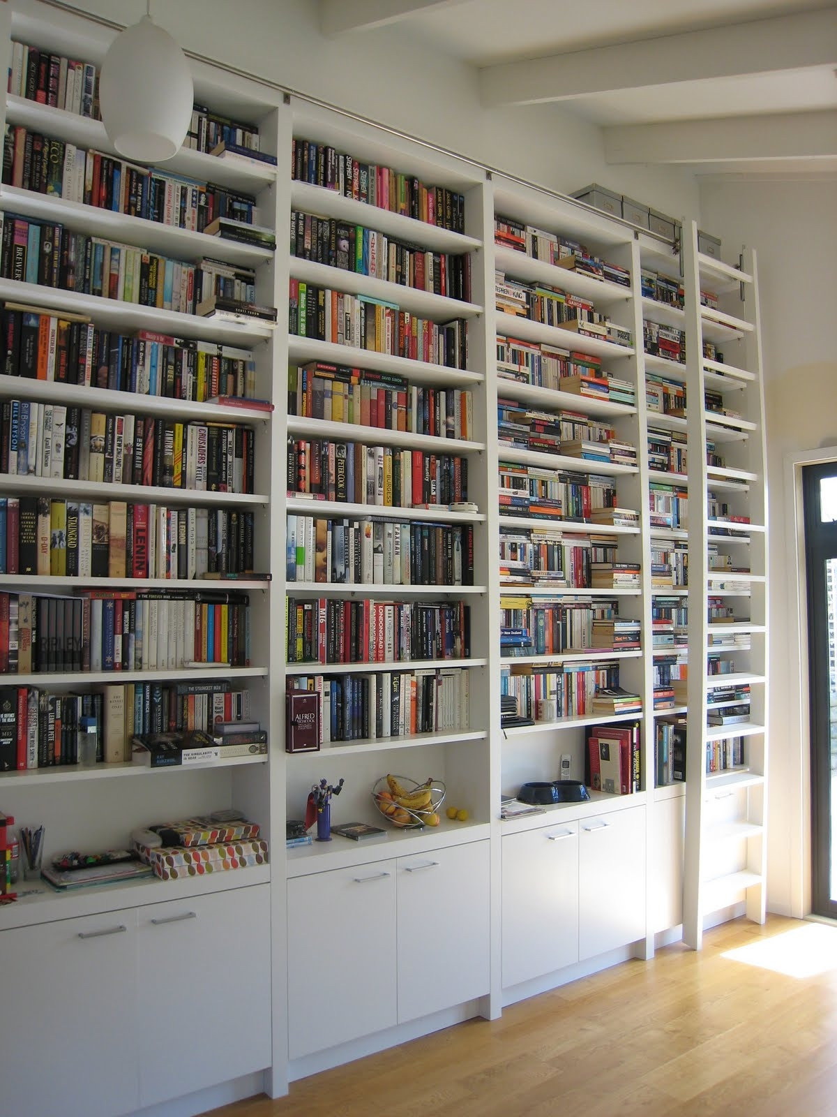 Library Ladder Ikea And Bookcase Wall Unit For Your Decorating Pertaining To Full Wall Bookcase (View 9 of 15)