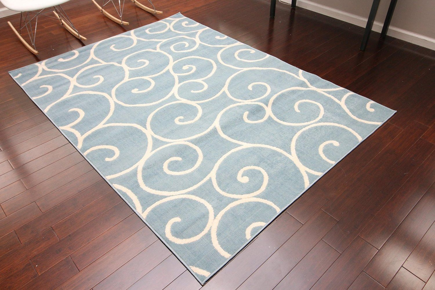 Light Blue Spiral 8×11 Contemporary Cheap Area Rugs 5×8 Bargain With Cheap Wool Area Rugs (#8 of 15)