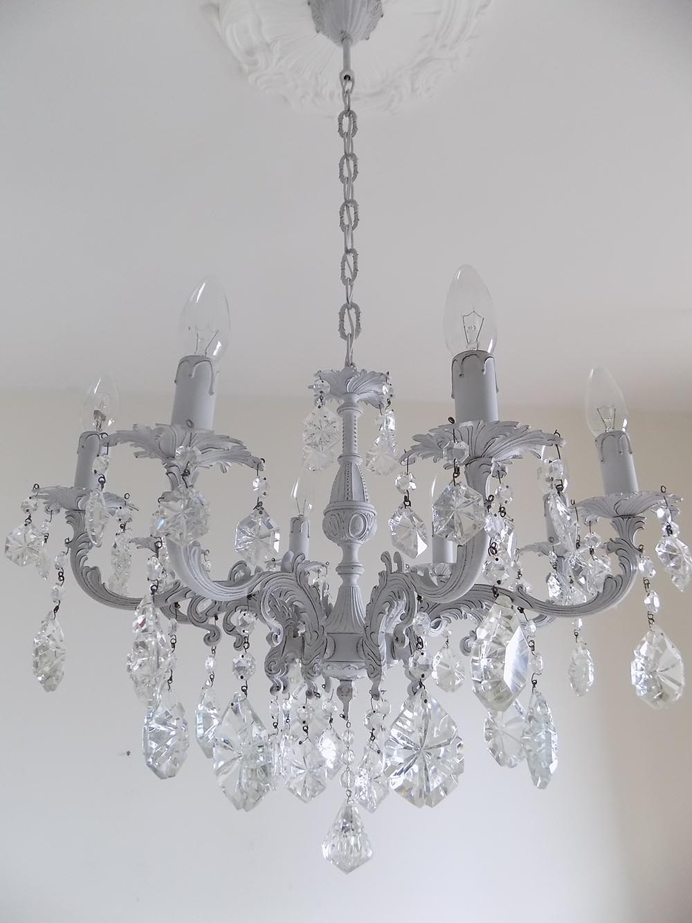 Popular Photo of Grey Crystal Chandelier