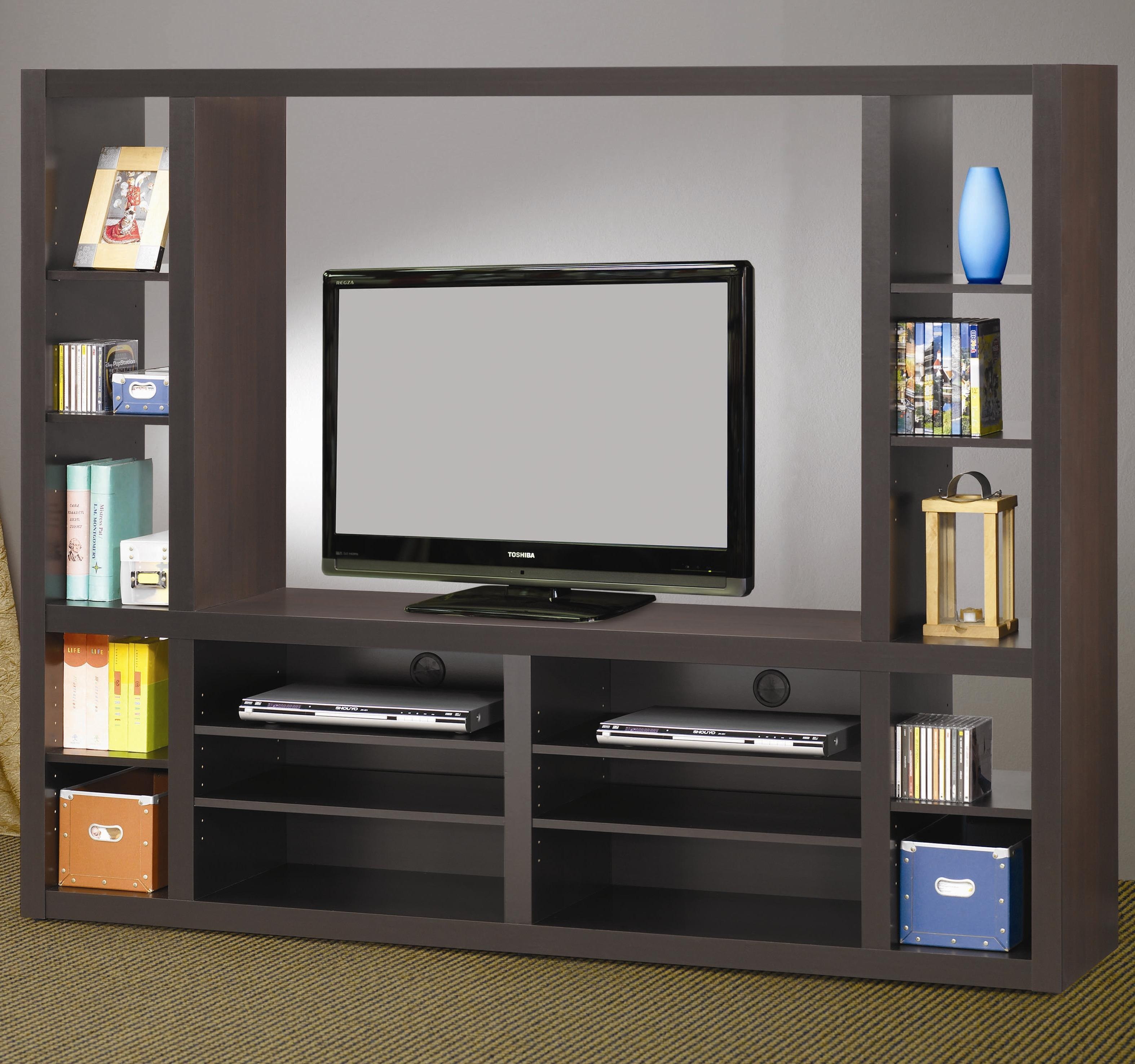 Living Room Awesome Grey Wood Modern Design Elegant Wall Units In Tv Bookcase Unit (#10 of 15)