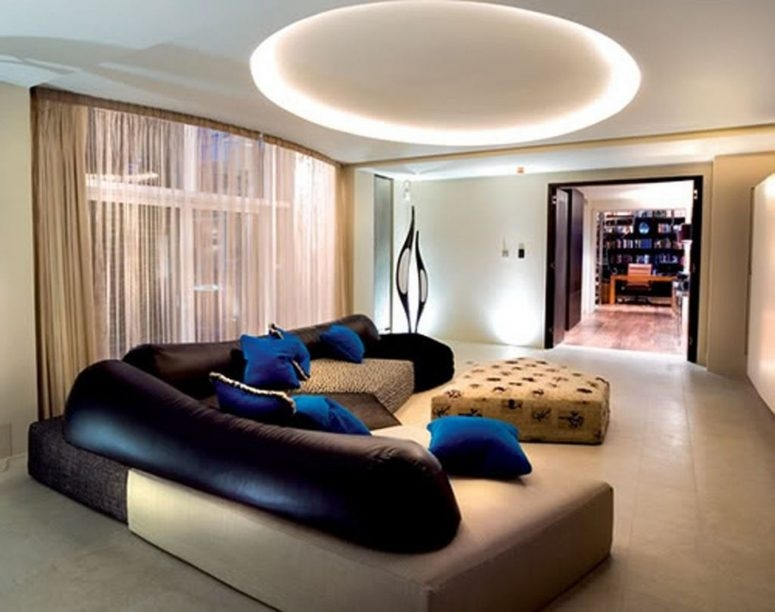 Living Room Low Ceiling Lights Round White Wooden Laminate Coffee Pertaining To Sofas With Lights (#14 of 15)