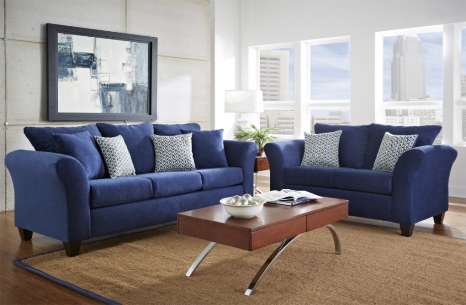 Living Room With Dark Blue Sofa Carameloffers With Regard To Dark Blue Sofas (#12 of 15)