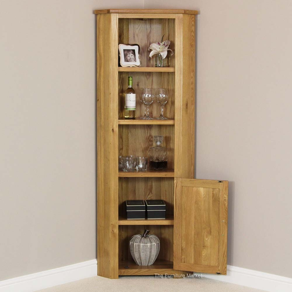 London Solid Oak Tall Corner Display Cabinet Unit With Regard To Corner Oak Bookcase (View 9 of 15)