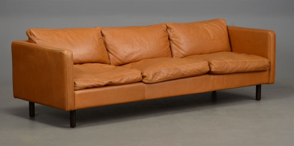 Long Danish Leather Sofa In Light Tan Seating Apollo Antiques In Light Tan Leather Sofas (View 14 of 15)