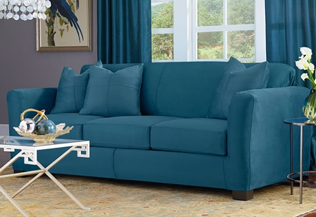 Love The Peacock Blue Color Of This Heavyweight Stretch Suede For Teal Sofa Slipcovers (#6 of 15)