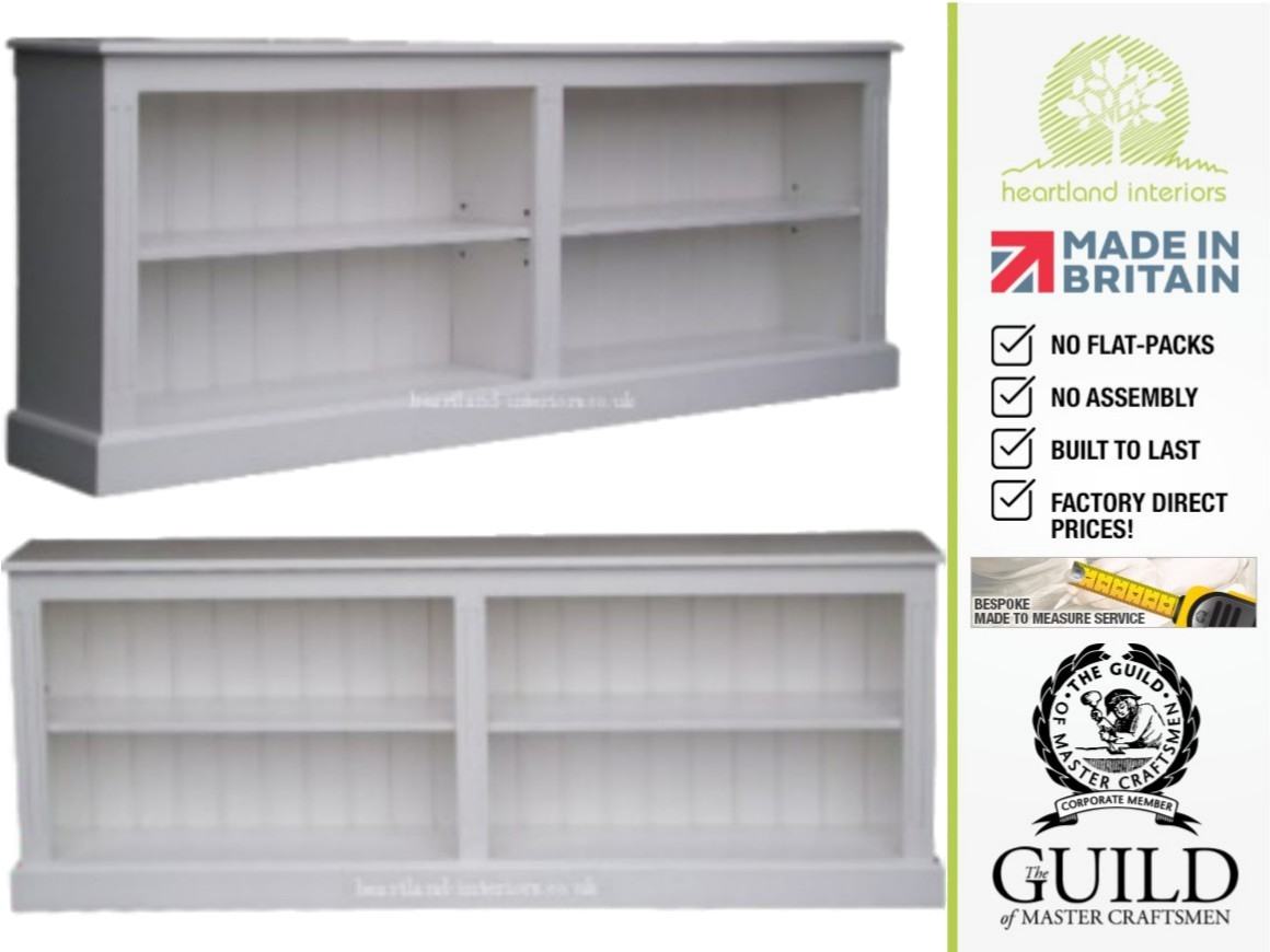 Low 2ft 4 Tall X 6ft Wide White Cream Or Grey Painted Bookcase For White Painted Bookcase (#7 of 15)