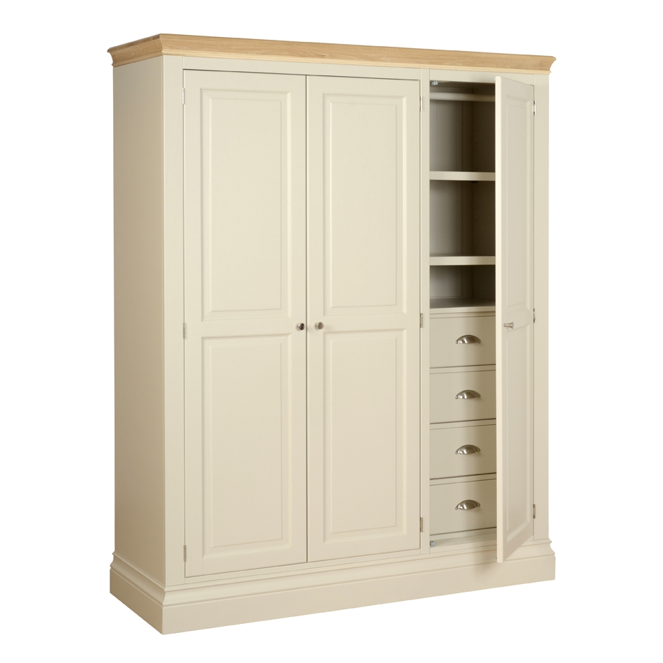 Lundy Painted Painted Oak And Pine Bedroom Furniture In Wardrobe With Drawers And Shelves (View 11 of 15)