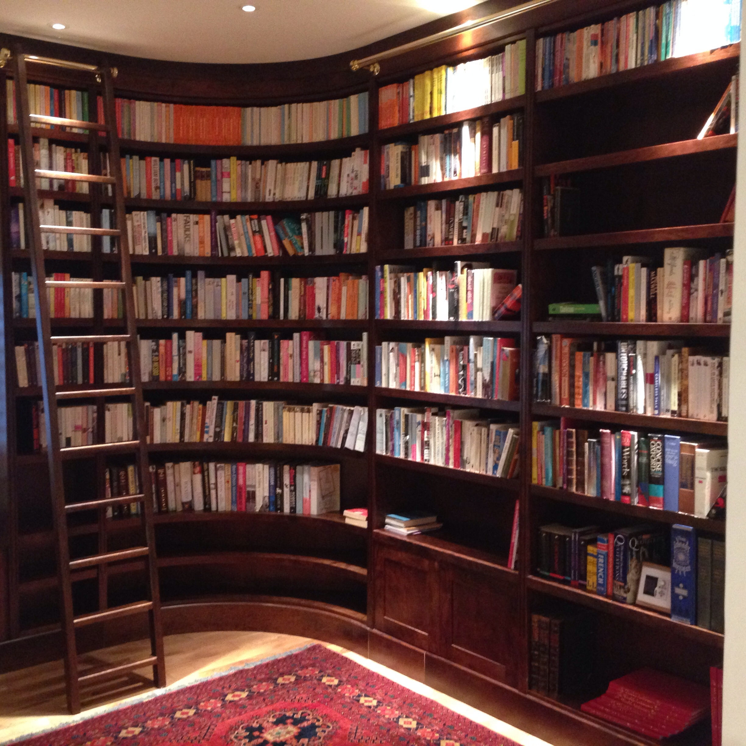 Luxurious Curved Library And Bespoke Ladder Jane Bartlett Furniture In Bespoke Library (#10 of 15)