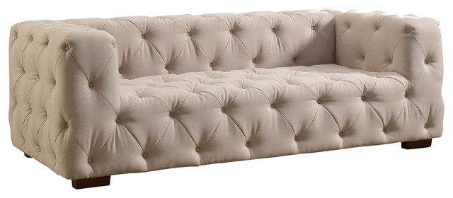 Luxurious Modern Large Tufted Linen Fabric Sofa Contemporary For Tufted Linen Sofas (#9 of 15)