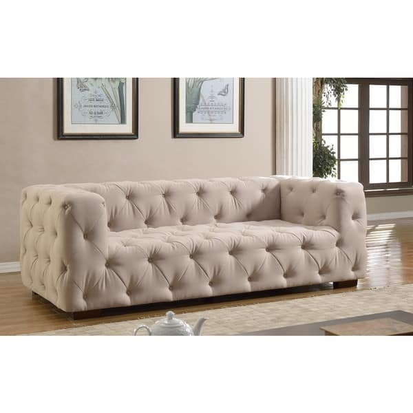 Luxurious Modern Large Tufted Linen Fabric Sofa Free Shipping Intended For Tufted Linen Sofas (#10 of 15)