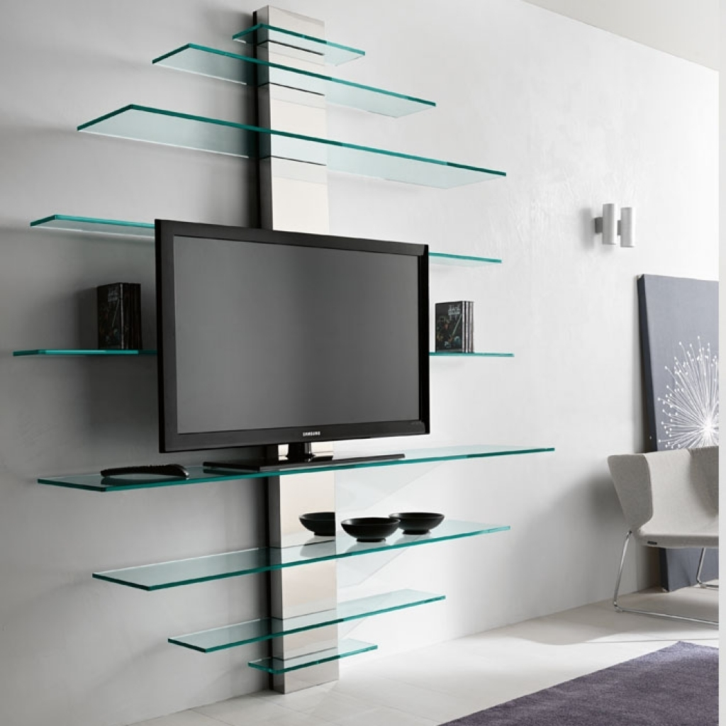 Luxury Glass Tv Shelves Wall Mount 71 For Your Wall Mounted Glass Inside Wall Mounted Glass Display Shelves (#5 of 15)