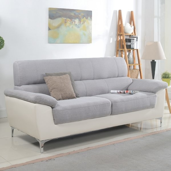 Madison Home Usa Modern Two Tone Fabric And Bonded Leather Living Inside Two Tone Sofas (View 3 of 15)