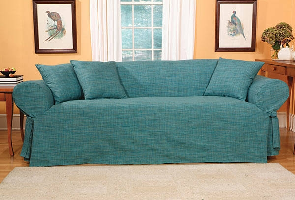 Madras Solid Teal Slipcovers Sofa Free Shipping Today With Regard To Teal Sofa Slipcovers (#7 of 15)