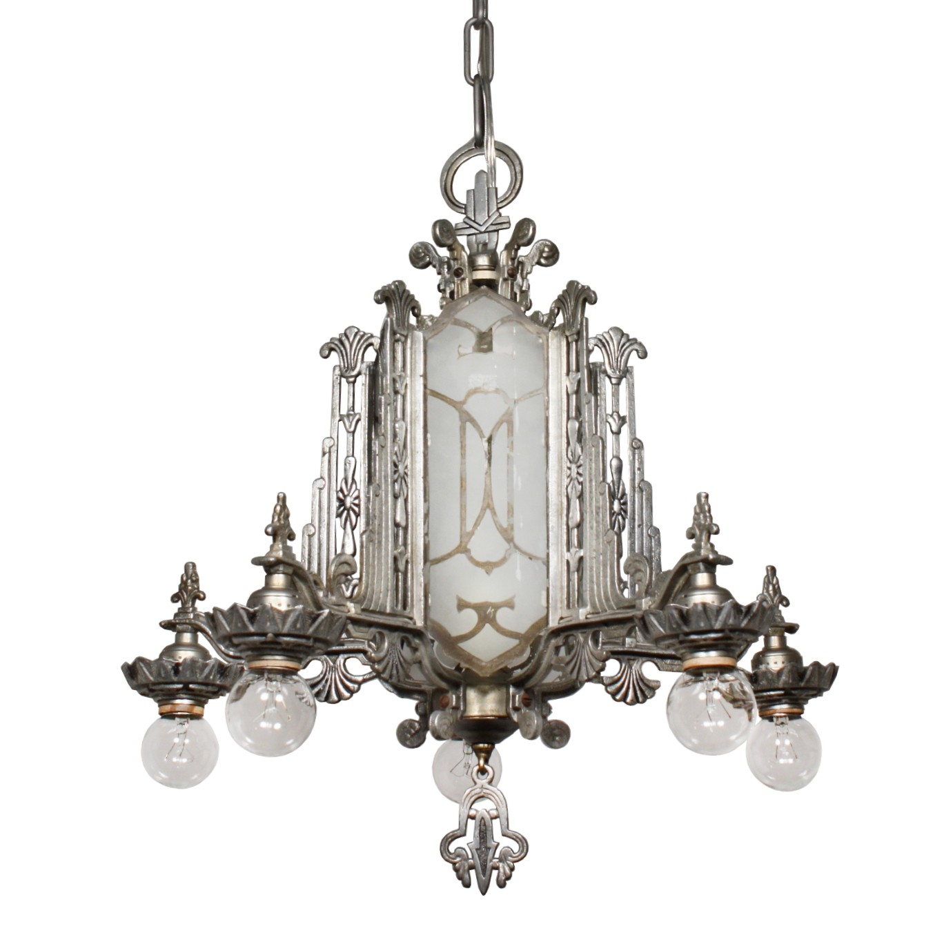 Magnificent Antique Art Deco Chandelier Mirrored And Etched Glass Within Mirrored Chandelier (#8 of 12)