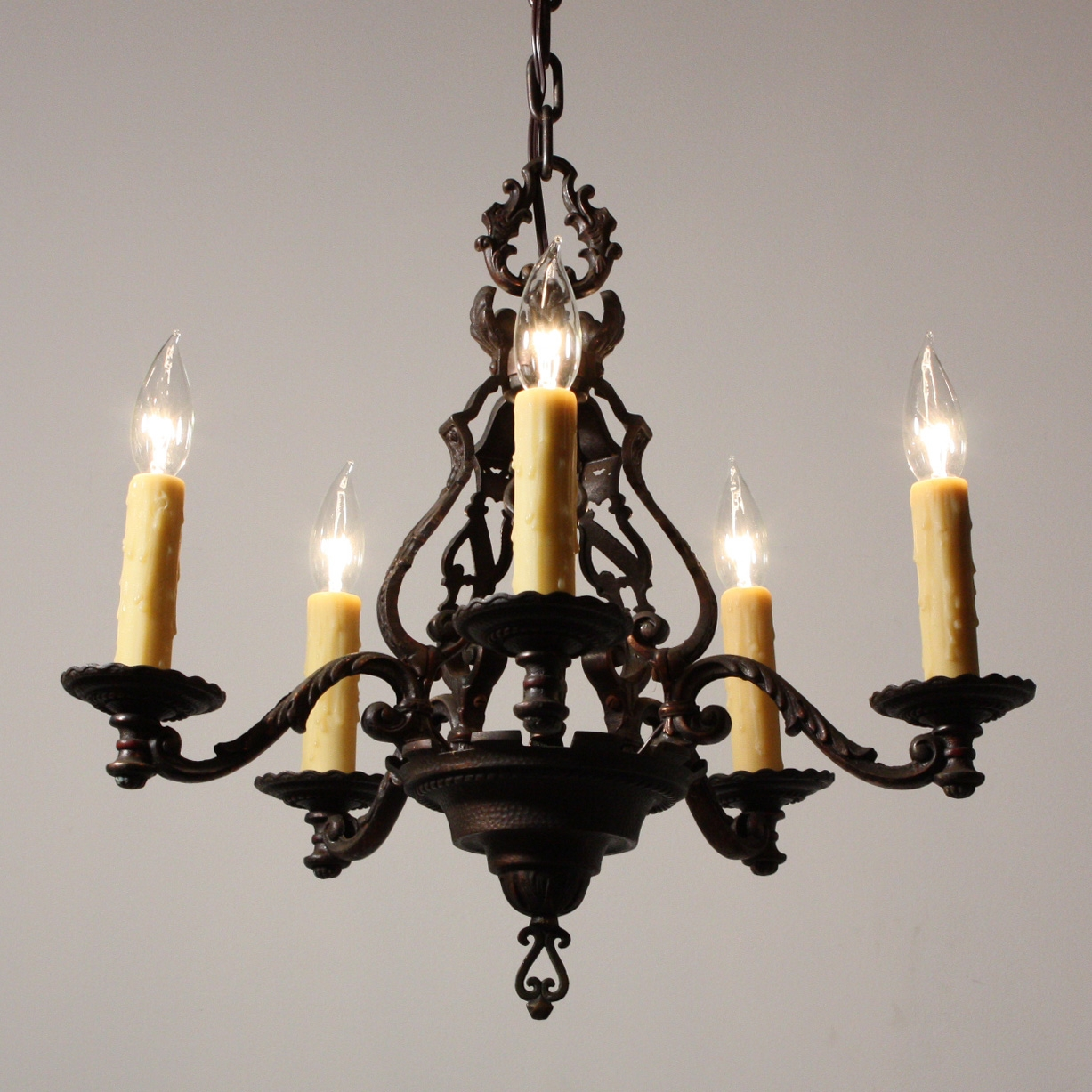 Magnificent Antique Figural Five Light Chandelier Cast Iron Inside Cast Iron Antique Chandelier (#11 of 12)