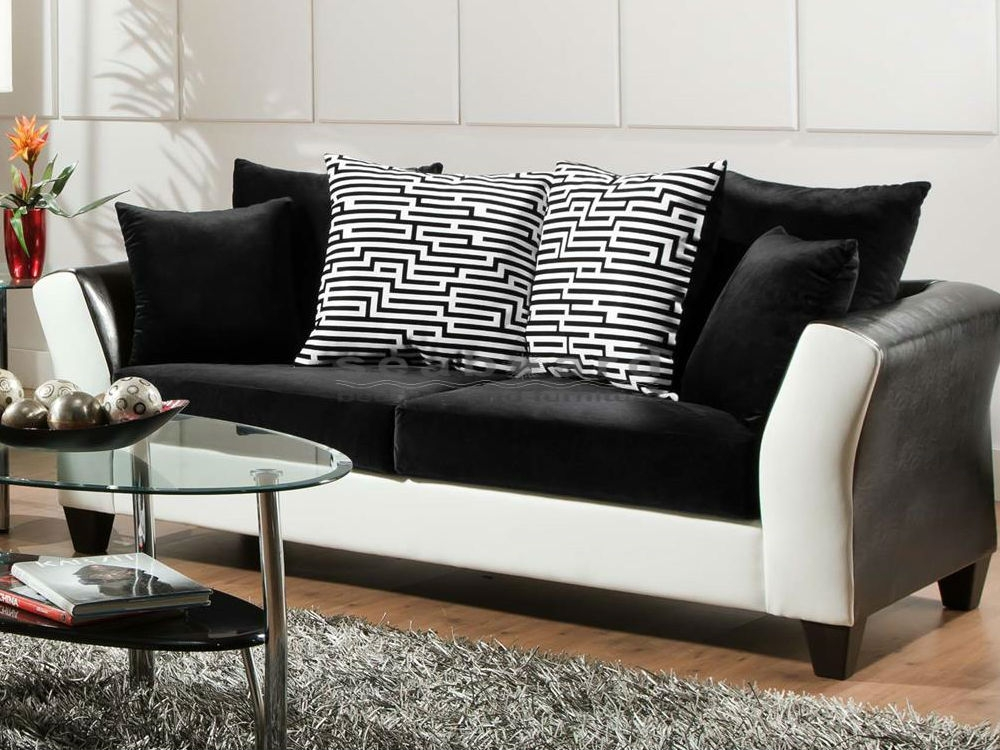 Magnificent Black And White Living Room Set Designs Black And With Black And White Sofas (#9 of 15)